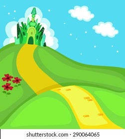Wizard of Oz. Emerald city square. Vector Illustration