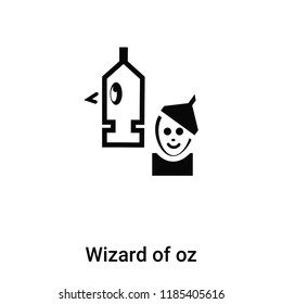 Wizard of oz icon vector isolated on white background, logo concept of Wizard of oz sign on transparent background, filled black symbol
