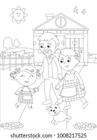 The wizard of Oz. Little girl Dorothy back home with her grandparents, coloring illustration