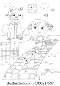 The wizard of Oz. Little girl Dorothy meets the Scarecrow on the yellow brick road, coloring vector