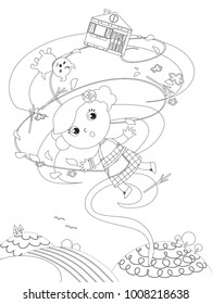 The wizard of Oz. Little girl Dorothy is flying in the wind twister with her dog and home, coloring vector