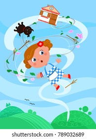 The wizard of Oz. Little girl Dorothy is flying in the wind twister with her dog and home