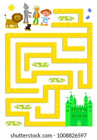 Wizard of OZ maze, help Dorothy to find the Emerald Castle, vector illustration game