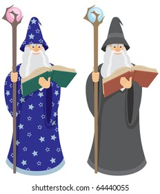 Wizard reading spell from old book. Two versions differing by color. You can easily move his eyes in the vector file to whatever direction you want.