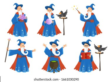 Wizard in robe spelling vector cartoon characters. Vector illustration