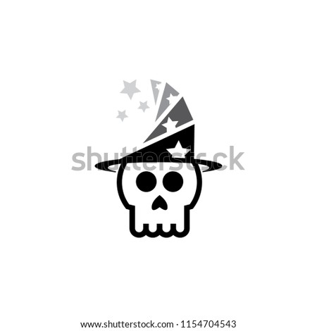 Wizard Skull Logo Template Stok Vektör Telifsiz 1154704543