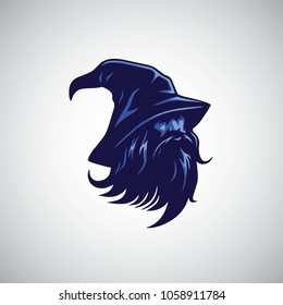 Wizard, Sorcerer Logo Design Mascot Vector Illustration