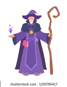 A wizard stands with a staff, book. Role-playing stylized image male without a face. Flat cartoon design. Realistic body proportions. Vector simple style illustration isolated on white background.