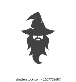 wizard warlock logo black and white vector