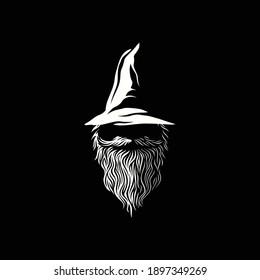 wizard warlock logo design inspiration, Design element for logo, poster, card, banner, emblem, t shirt. Vector illustration