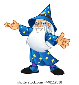 Wizard wearing a hat and a long beard, vector illustration