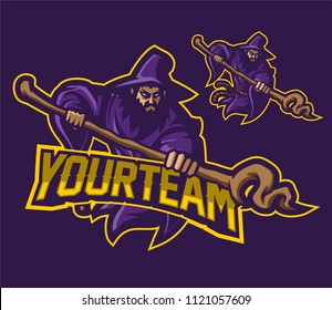 wizard/sorcerer esport gaming mascot logo template