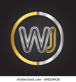 WJ Letter logo in a circle. gold and silver colored. Vector design template elements for your business or company identity.