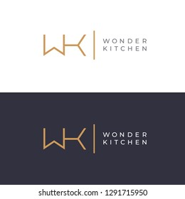 WK. Monogram of Two letters W & K. Luxury, simple, minimal and elegant WK logo design. Vector illustration template.