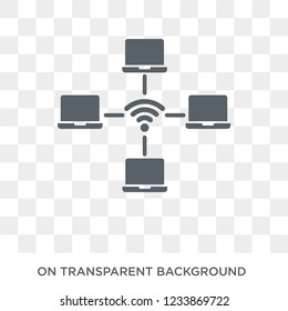 wlan icon. Trendy flat vector wlan icon on transparent background from Internet Security and Networking collection.
