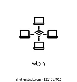 wlan icon. Trendy modern flat linear vector wlan icon on white background from thin line Internet Security and Networking collection, editable outline stroke vector illustration
