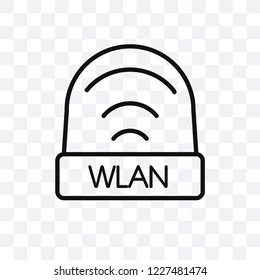 wlan vector linear icon isolated on transparent background, wlan transparency concept can be used for web and mobile