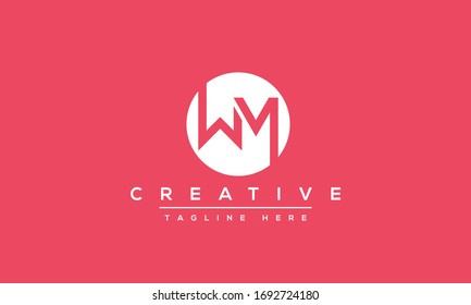 WM Logo Design Abstract Vector monogram. Modern creative icon letters W M.