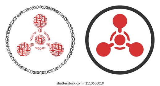 WMD nerve agent chemical warfare composition icon of one and zero digits in different sizes. Vector digits are united into WMD nerve agent chemical warfare collage design concept.