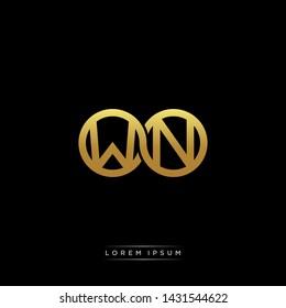 WN initial letter linked circle capital monogram logo modern template