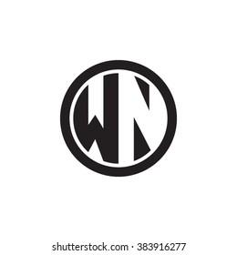 WN initial letters circle monogram logo