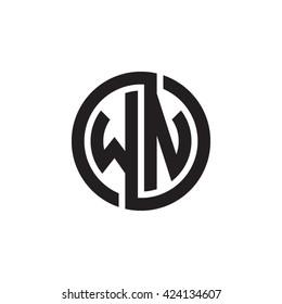 WN initial letters looping linked circle monogram logo