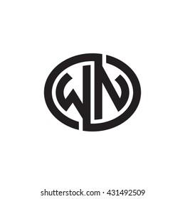 WN initial letters looping linked ellipse monogram logo