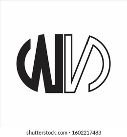 WN Letter logo monogram with oval shape negative space design template white background