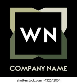 WN letters business logo creative  icon design template elements in abstract background logo, design identity in square with four colors, modern alphabet letters