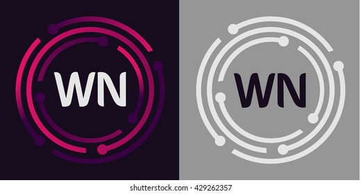 WN letters business logo icon design template elements in abstract background logo, design identity in circle, alphabet letter