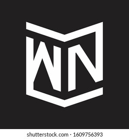 WN Logo Emblem Monogram With Shield Style Design Template Isolated On Black Background