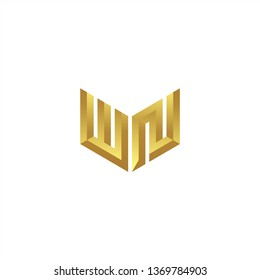 WN Logo letter initial 3d designs templete with gold colors