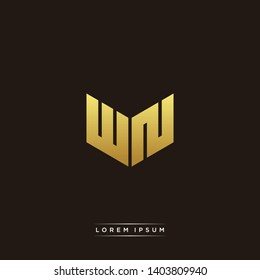 WN Logo Letter Initial Logo Designs Templete with Gold and Black Background