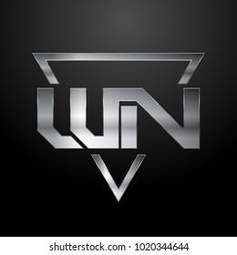WN Logo, Metal Logo, Silver Logo, Monogram, Polygon