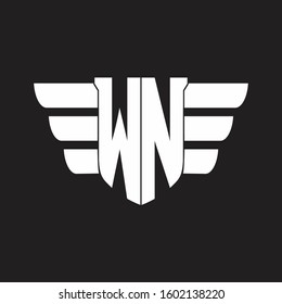 WN Logo monogram with emblem and wings element design template