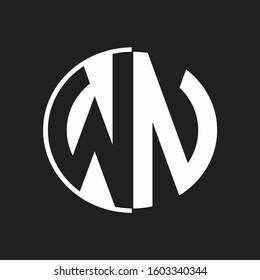 WN Logo monogram with Negative space style design tempate