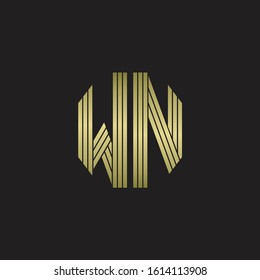 WN Logo monogram outline style linked isolated with gold colors