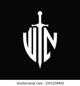WN logo with shield shape and sword