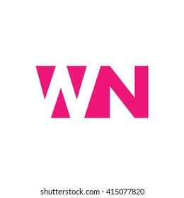 WN Logo. Vector Graphic Branding Letter Element. White Background