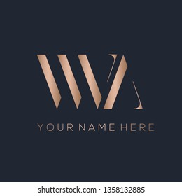 WN monogram.Typographic logo with serif letter w and letter n.Uppercase lettering icon in rose gold metallic color isolated on dark background.Stylish initials.Modern, luxury style.