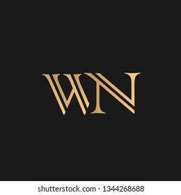 WN or NW logo vector. Initial letter logo, golden text on black background