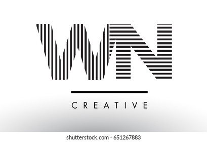 WN W N Black and White Letter Logo Design with Vertical and Horizontal Lines.