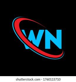 WN W N letter logo design. Initial letter WN linked circle uppercase monogram logo red and blue. WN logo, W N  design. wn, w n
