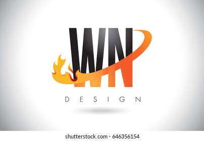WN W N Letter Logo Design with Fire Flames and Orange Swoosh Vector Illustration.
