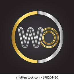 WO Letter logo in a circle. gold and silver colored. Vector design template elements for your business or company identity.