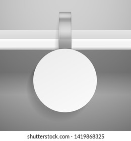 Wobbler on shelf. Round retail advertising priced hanging clear plastic sticker for store or supermarket isolated vector template for promotion
