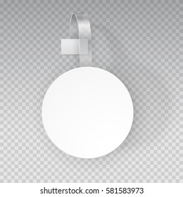 Wobbler or sales point label mock up. White empty round self adhesive supermarket shelf wobbler isolated on transparent background. Vector circle plastic price banner, tag or label for your design