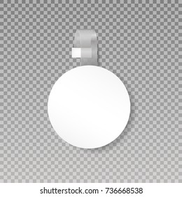 Wobbler or sales point tag mock up. Blank White Round Papper Plastic Advertising Price Wobbler Front view.  isolated on transparent background. Vector illustration. Eps 10.