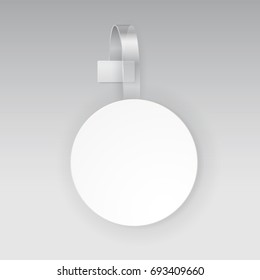 Wobbler or sales point tag mockup. White empty round self adhesive supermarket shelf wobbler isolated on grey background. Vector circle shelf plastic price sticker, banner or label for your design
