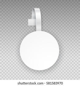 Wobbler or sales point tag template. White empty round self adhesive supermarket shelf wobbler isolated on transparent background. Vector circle shelf plastic price banner or label for your design